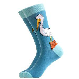 Mens Novelty Stork Cotton Crew Socks Blue
